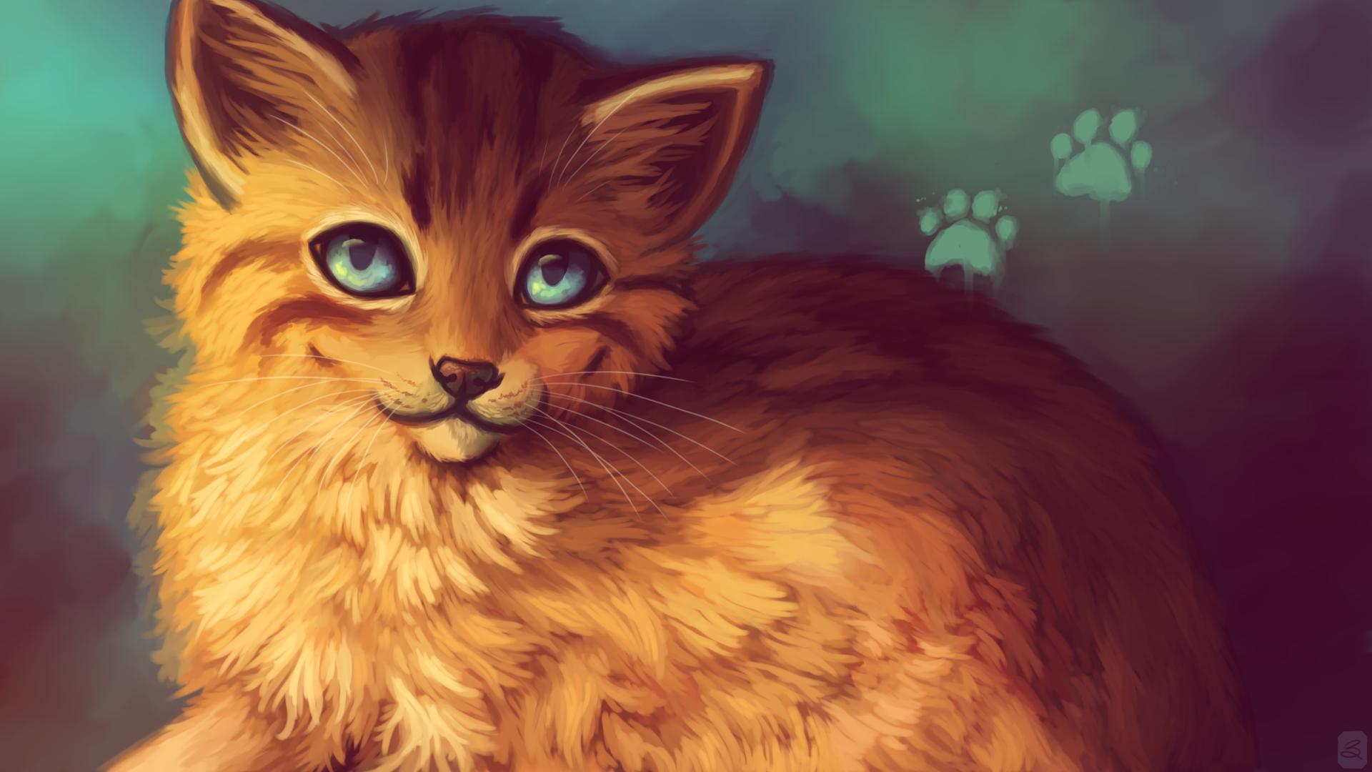 Cute Cat Painting Art Wallpaper