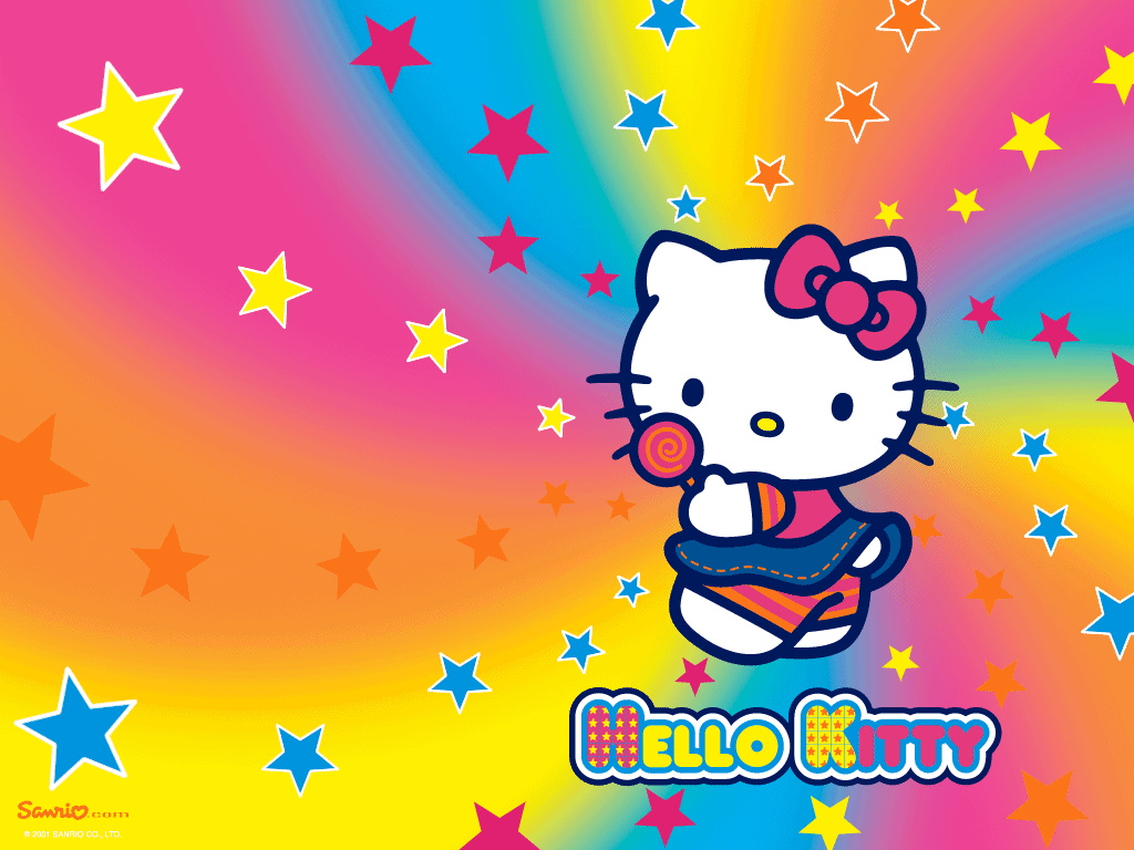 Cute Rainbow Colored Kitty Background