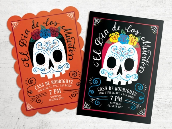 day of the dead postcard invitation