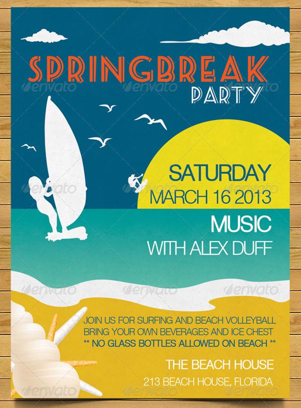 Deco Spring Break Beach Party Invitation