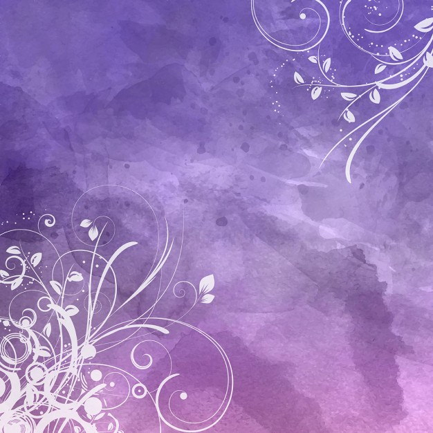 Decorative Floral Design on Purple Watercolor Background