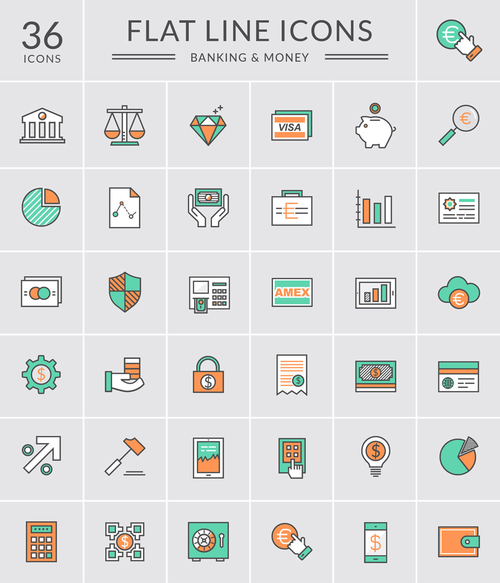 Download 36 Free Bank and Money Line Icons Set