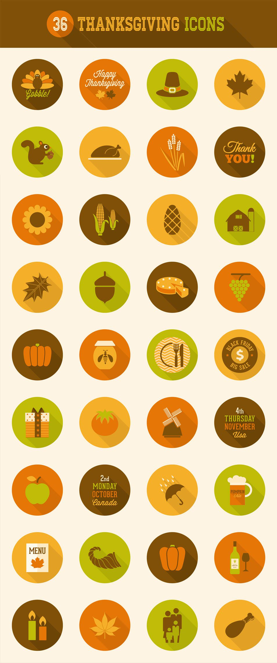 Download 36 Long Shadow Rounded Thanks Giving Icons