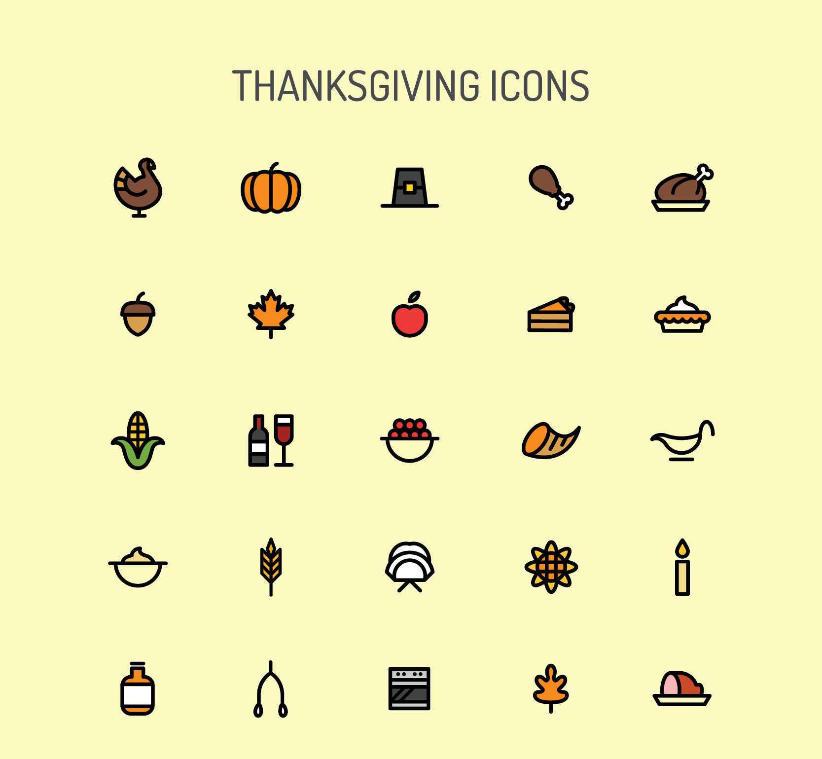 Download Tiny Free Thanks giving icons Set