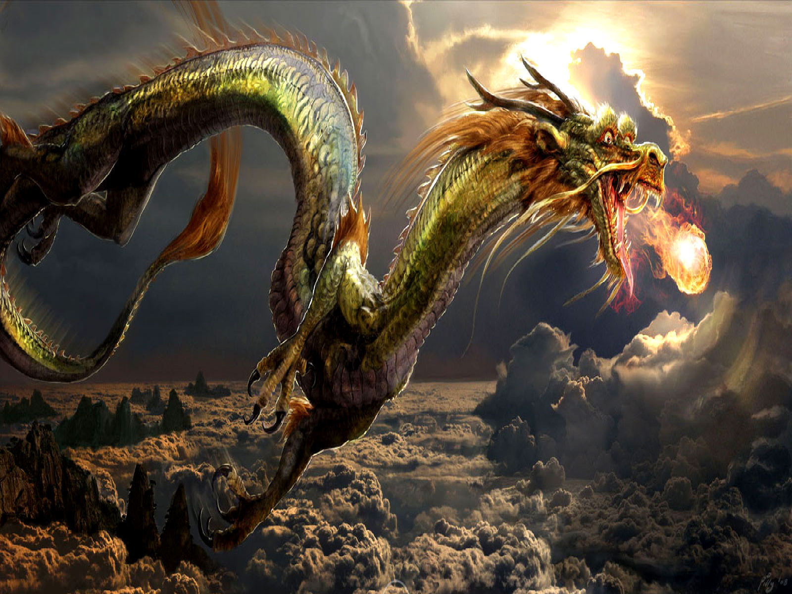 Dragon Above the Clouds Wallpaper