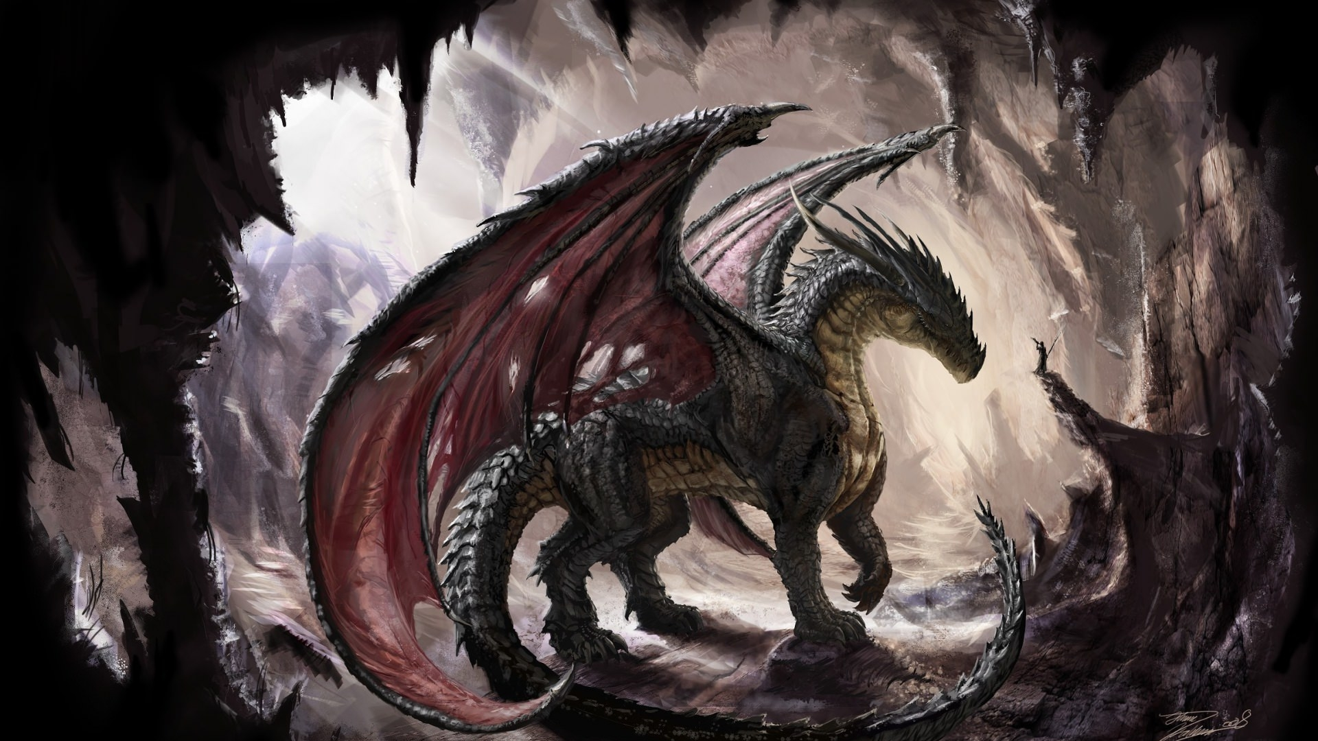 Dragon in Cave Wallpaper
