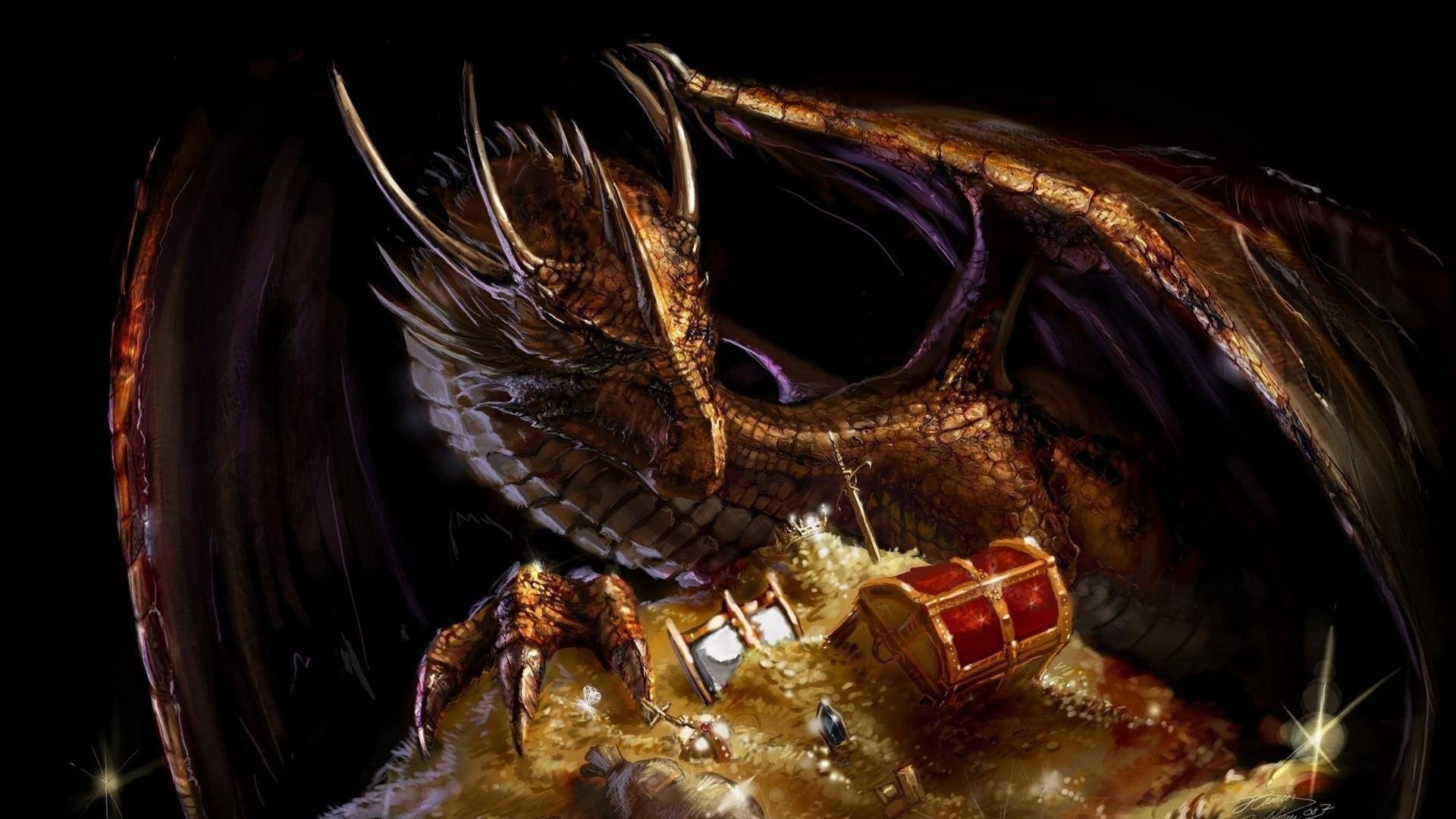 Dragon with Treasure Wallpaper