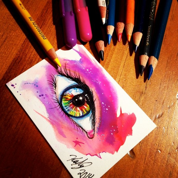 Drawing of Eye with Pencil