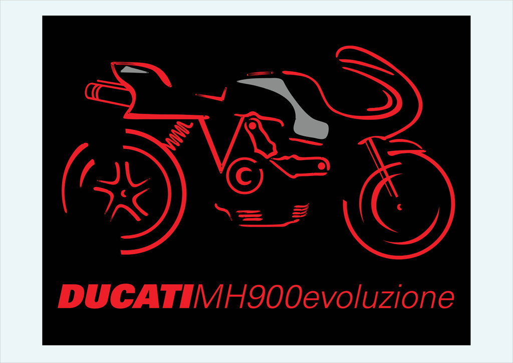 Ducati MH900e Motorcycle Vector Graphics