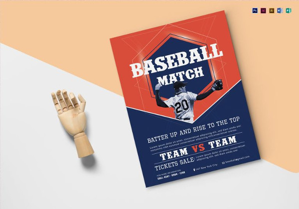 Easy to Print Baseball Match Flyer Template