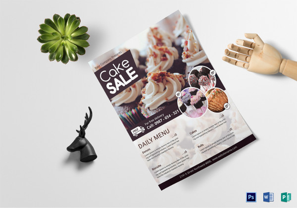 Editable Cake Sale Flyer Template