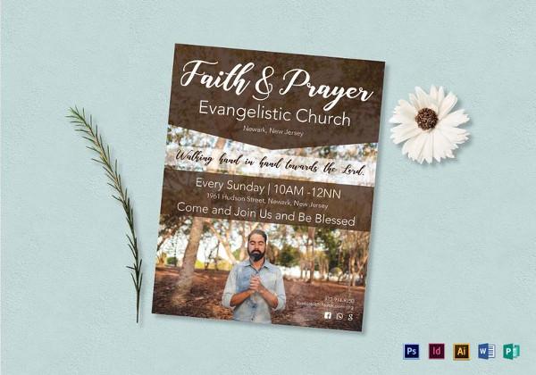 editable faith and prayer flyer template