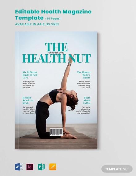 editable health magazine template