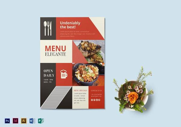 editable restaurant menu flyer template
