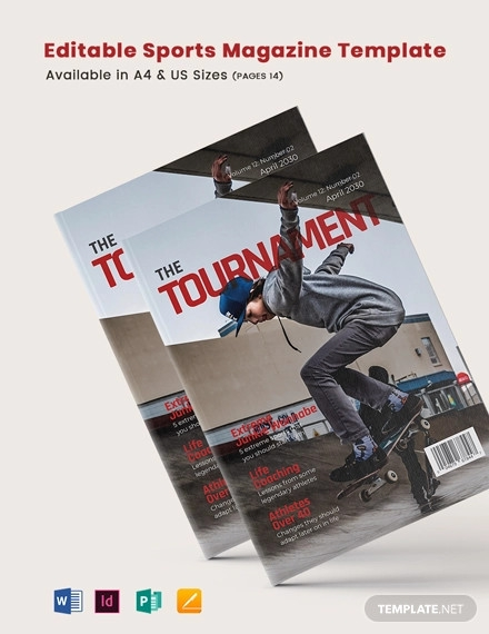 editable sports magazine template