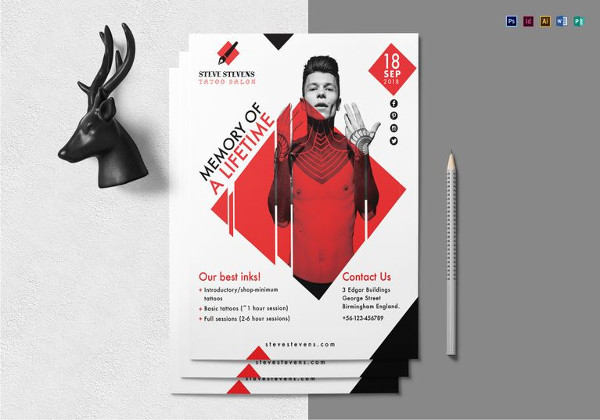 Editable Tattoo Salon Flyer Template