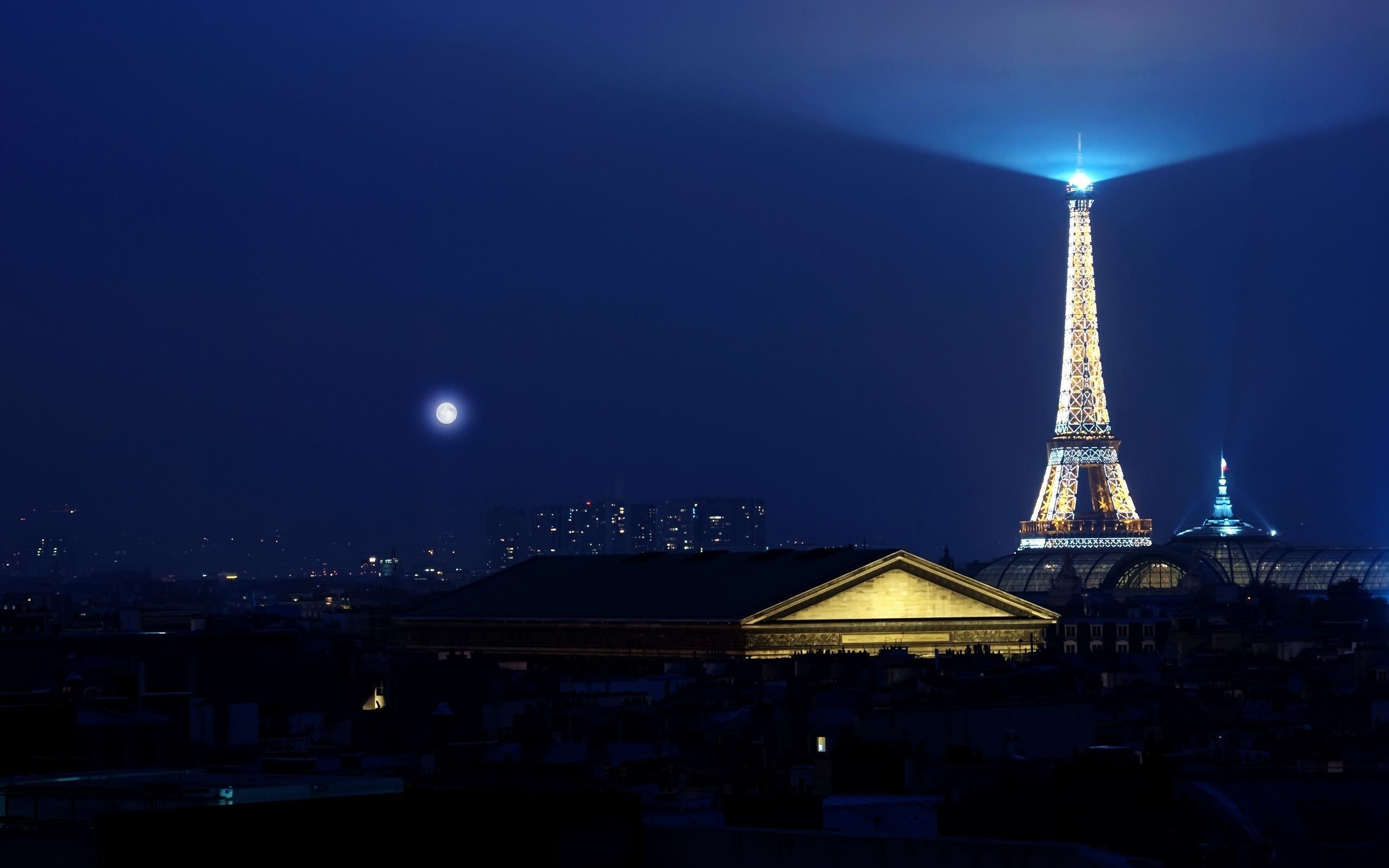 Eiffel Tower Night Light View HD Wallpaper