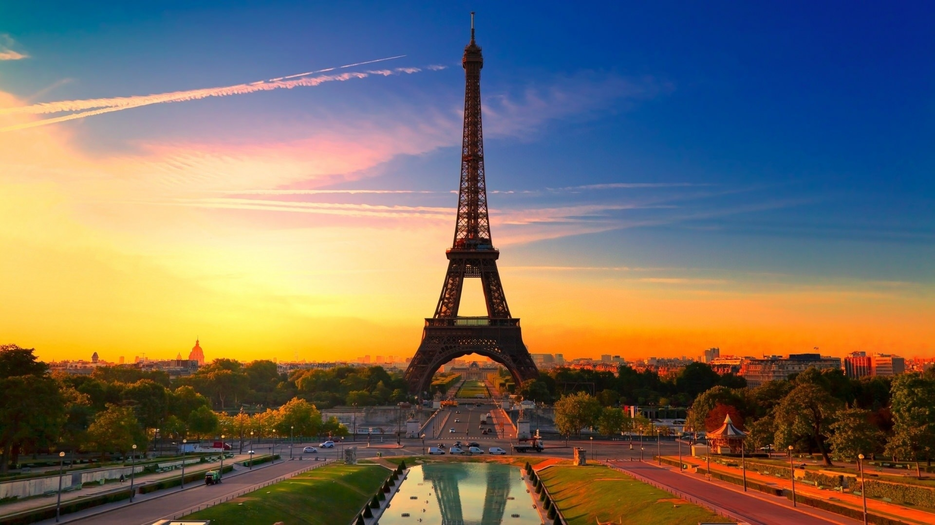 Eiffel Tower at Dawn Paris Background
