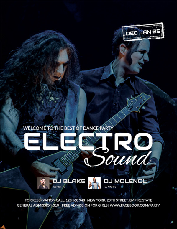 electro concert party flyer template