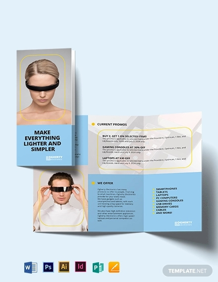 electronic product tri fold brochure template