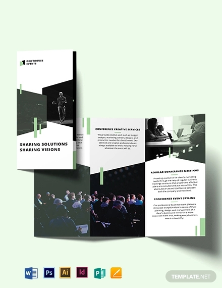 event conference tri fold brochure template
