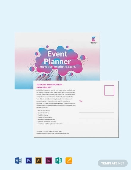 event planner post card template