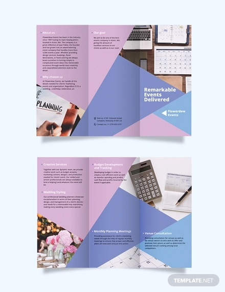 event planning tri fold brochure template