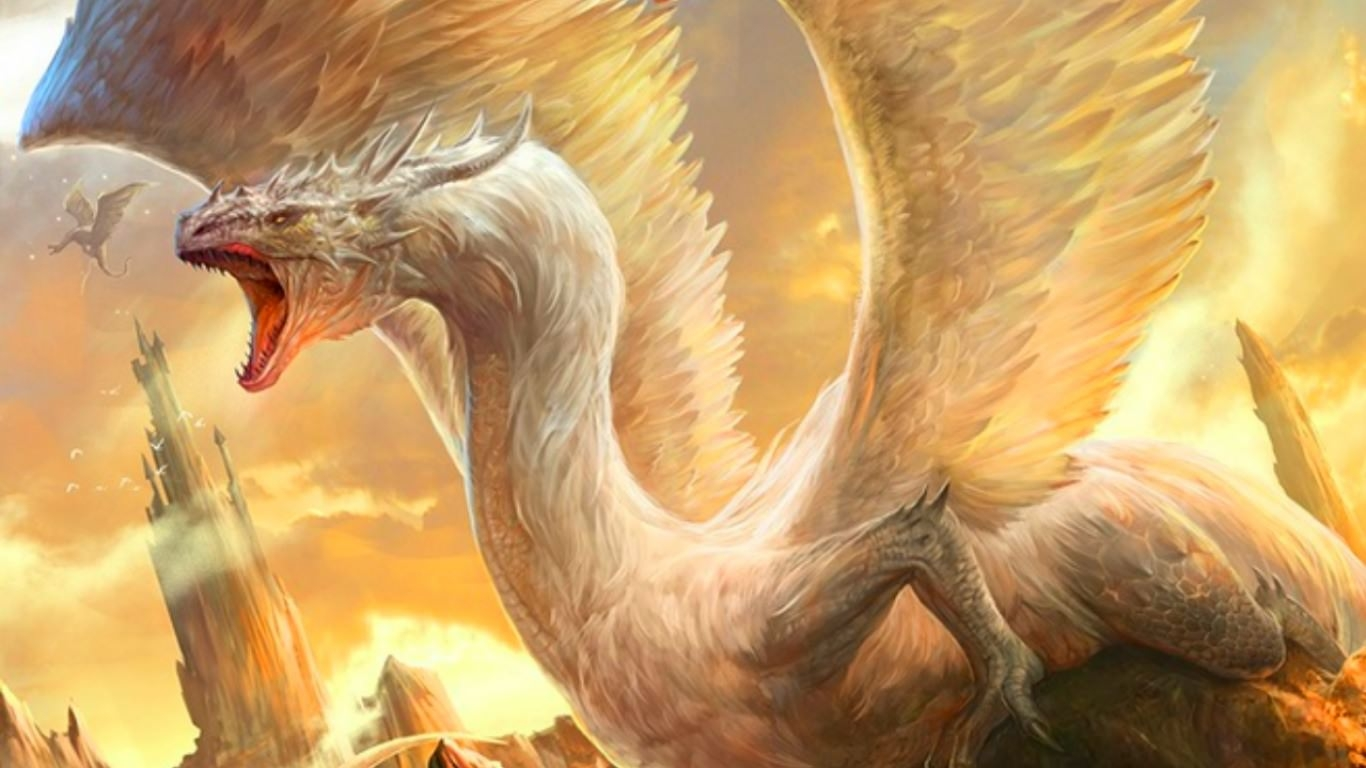 Fantastic White Dragon Wallpaper