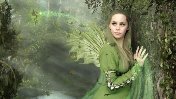 Fantasy Fairy in Woods Wallpaper