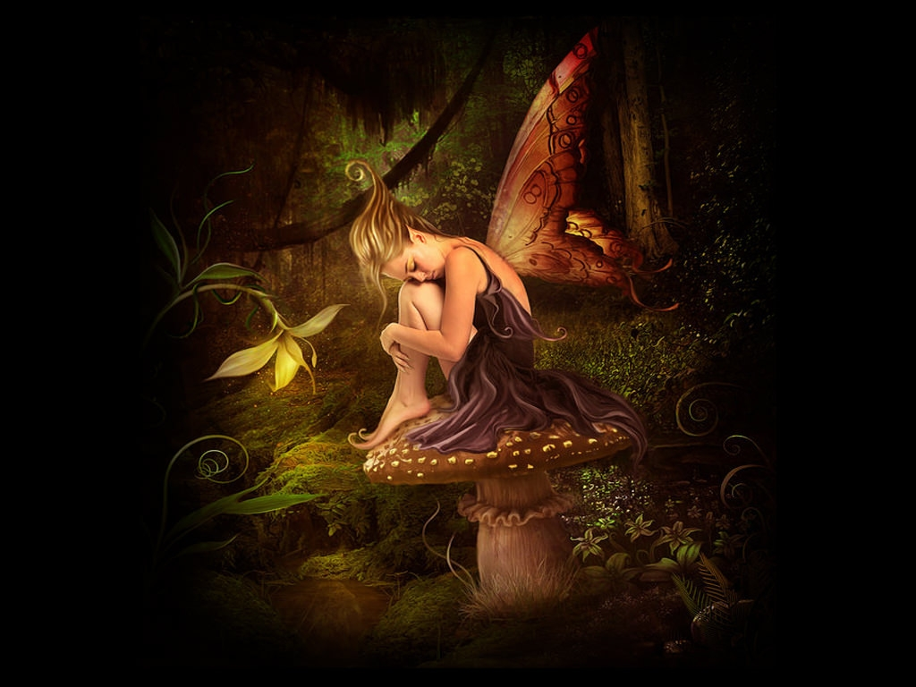 Fantasy Fairy on a Mushroom Wallpaper