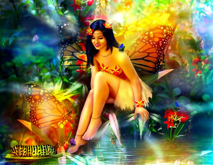Fantasy Fairy with Butterflies Wallpaper