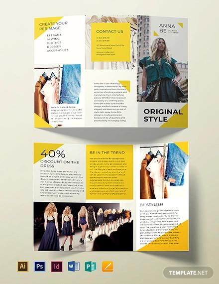 fashion designer tri fold brochure template