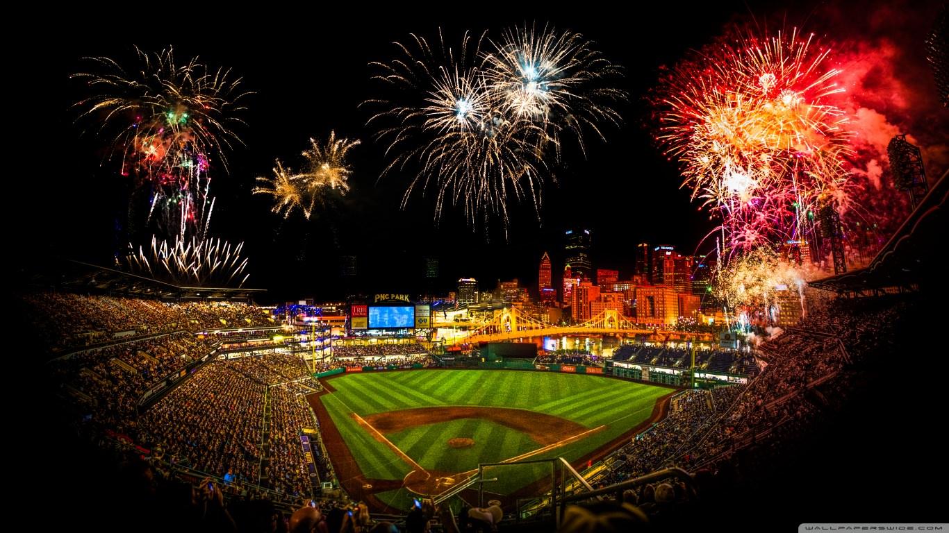 Fireworks Fireworks in Baseball Stadium
