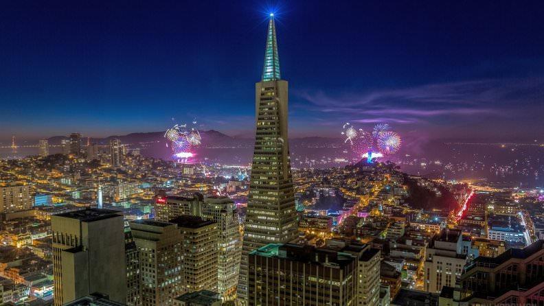 Fireworks Over San Francisco Skyline Wallpaper