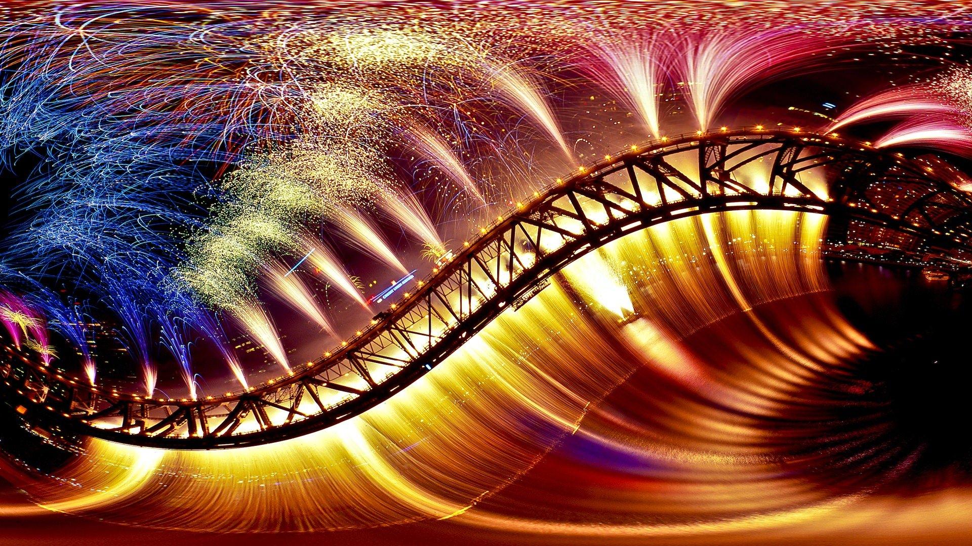Fireworks on Bridge Wallpaper