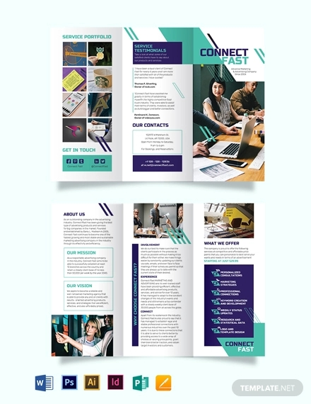 folded tri fold brochure template