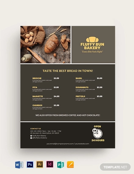 food menu bakery flyer template