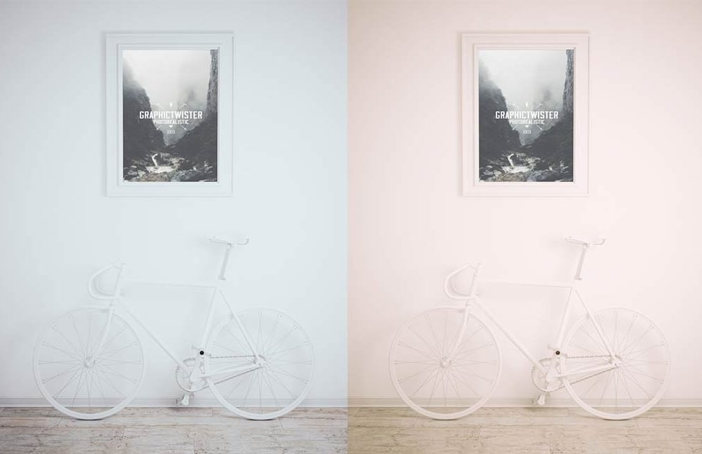 Framed Picture with Bike Mockup