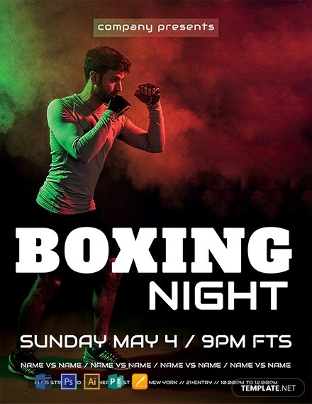 free boxing night flyer template