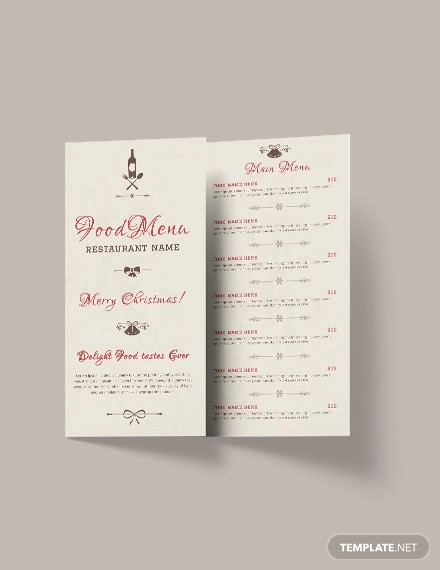 free christmas tri fold menu brochure template