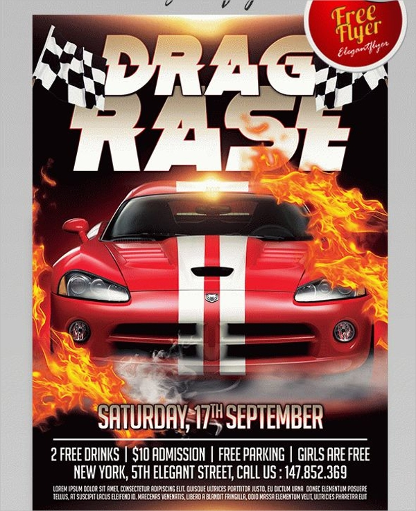 Free Drag Race Flyer PSD Template