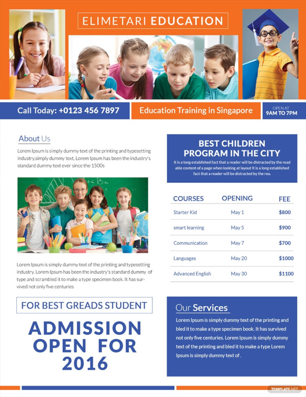 free education tutoring flyer