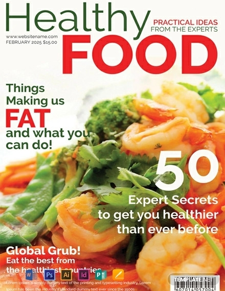 free healthy food magazine cover template1