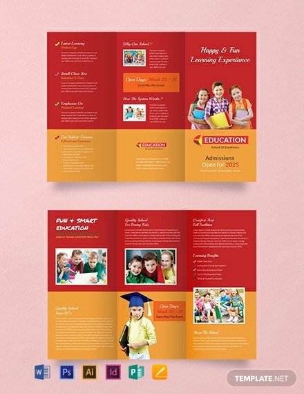 free kindergarten tri fold brochure design template