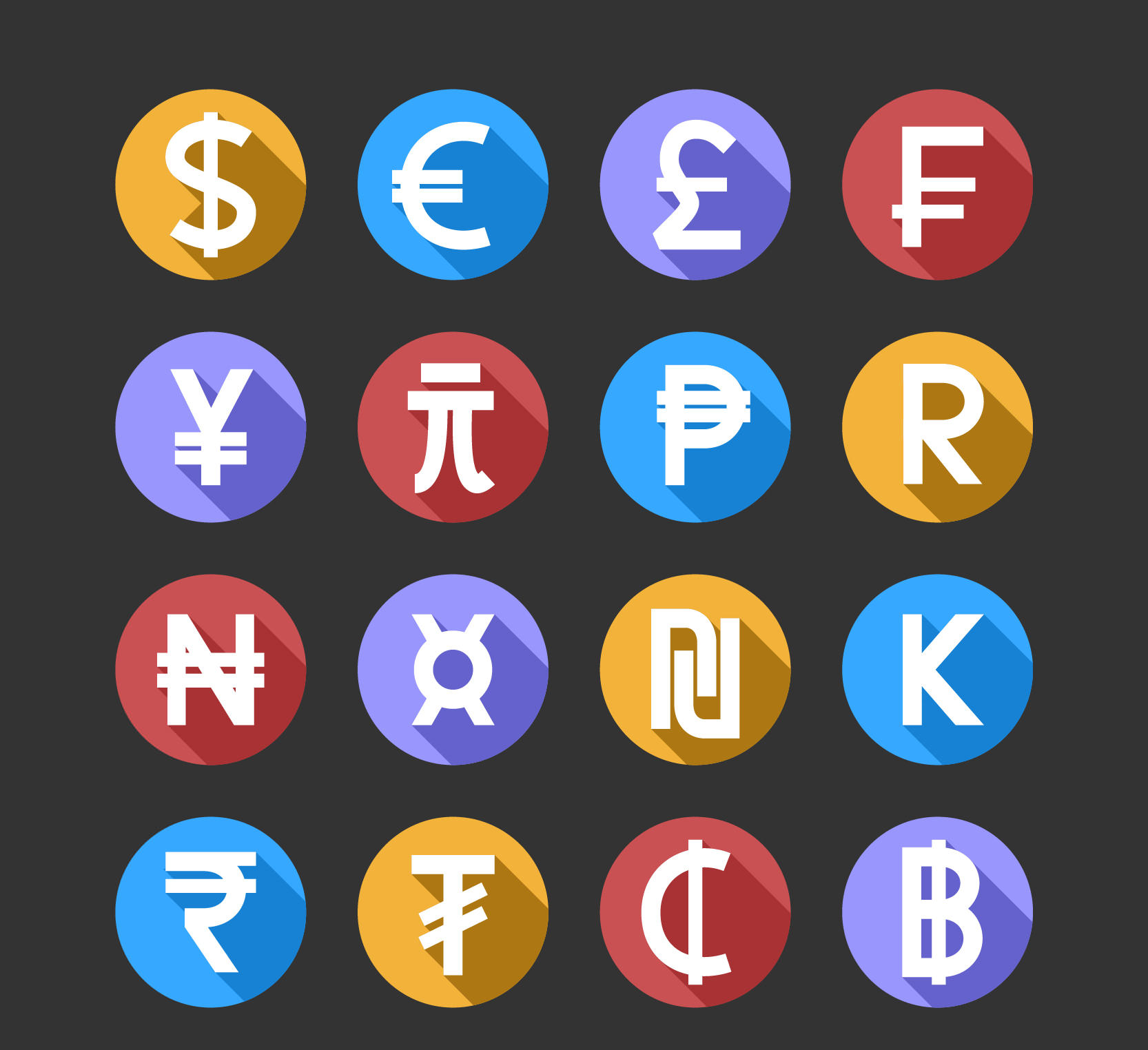 Free Rounded Colorful Money Icons