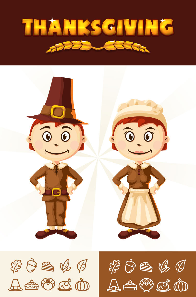 Free Thanksgiving Line Icons with Mascots Pack