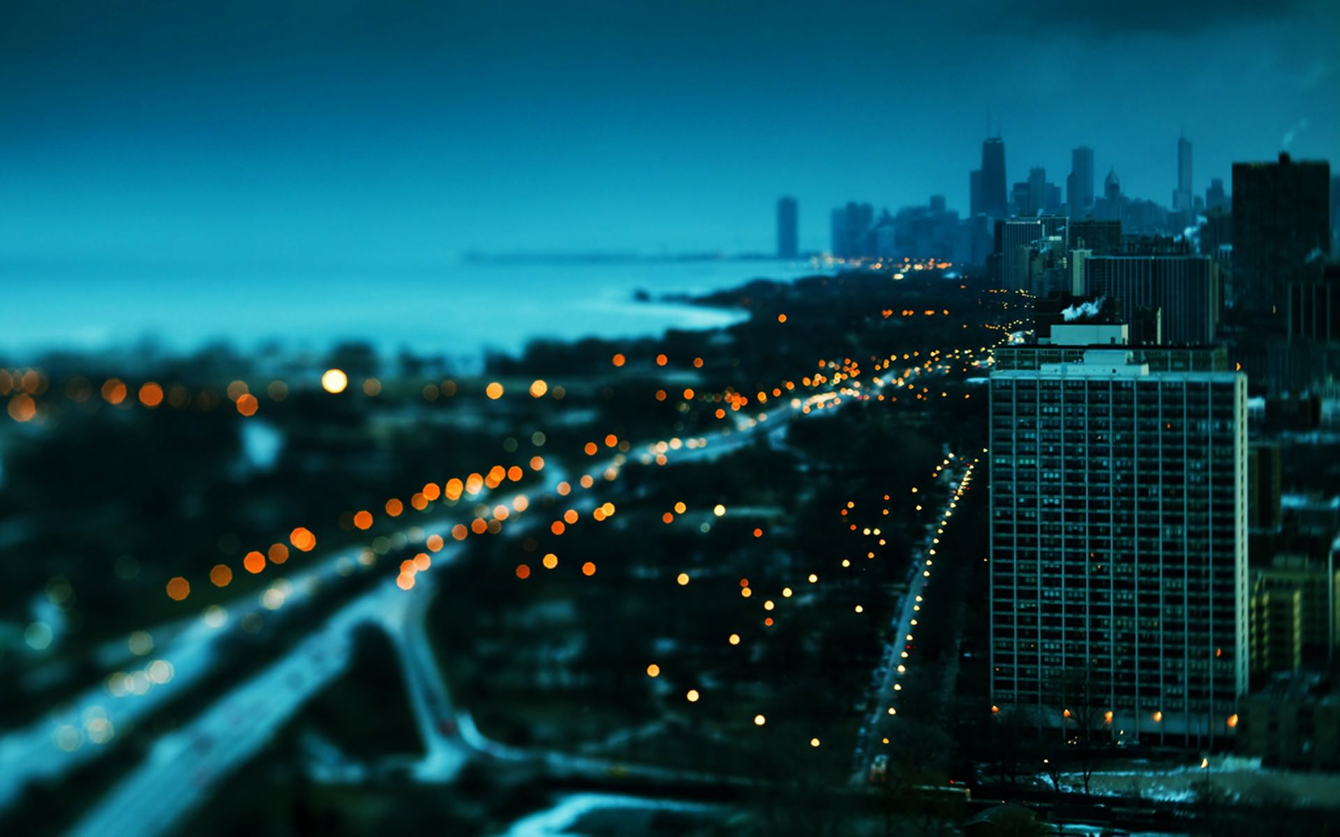 Free Tilt Shift City at Night Wallpaper