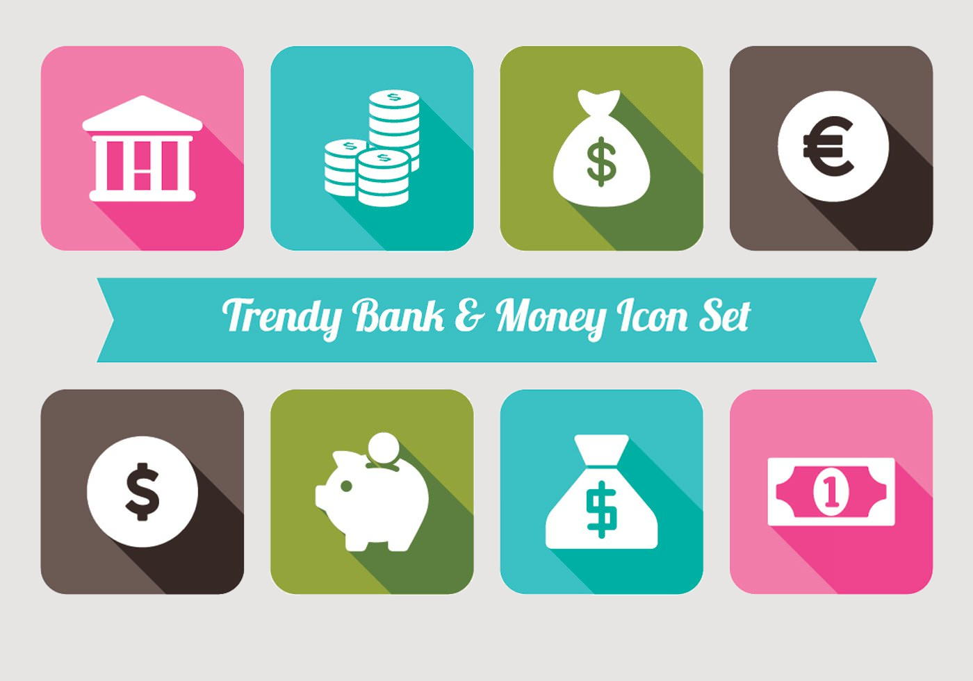 Free Trendy Bank and Mooney Icons Set
