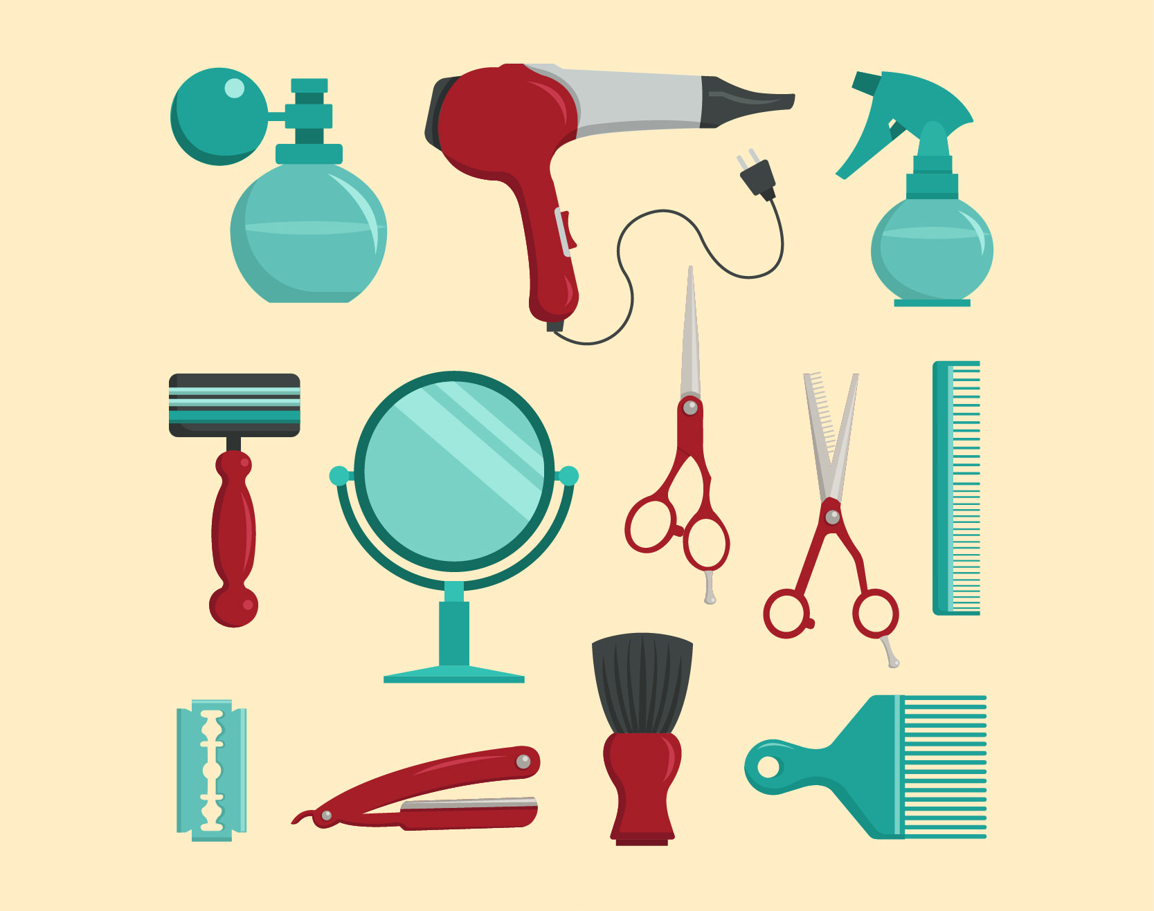 Free Vector Flat Barber Shop Elements