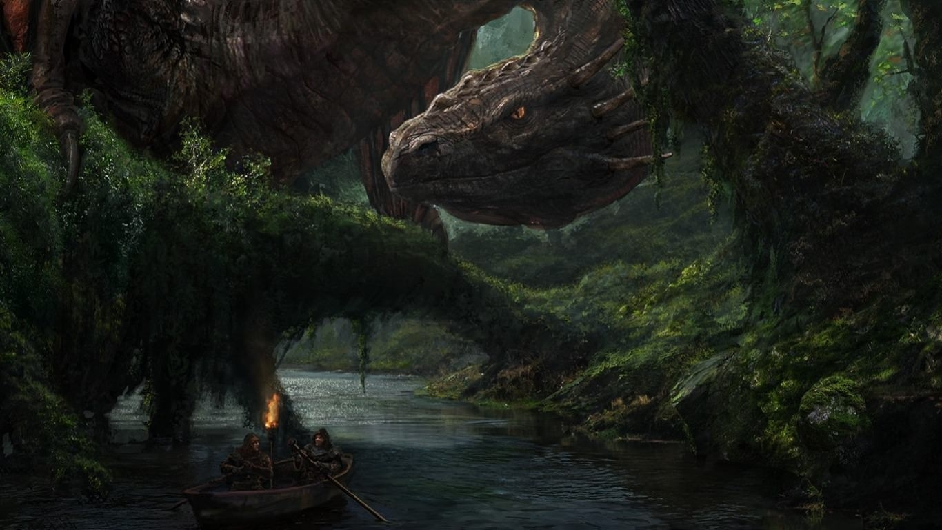 Furious Dragon in Forest Wallpaper
